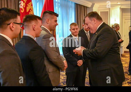 Secretary of State Michael R. Pompeo with the Marine Security Guard Detachment of U.S. Embassy Malaysia, at an Embassy Meet and Greet during his visit to Kuala Lumpur, Malaysia, August 3, 2018. - Stock Image