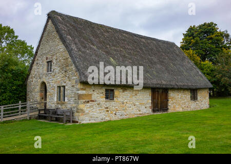 Exterior of the late  16th century Manor house  at the Ryedale Folk Museum in Hutton le Hole North Yorkshire England UK - Stock Image
