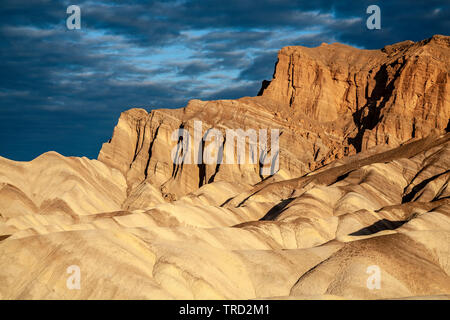 Red Cathedral and badlands, Death Valley National Park, California USA - Stock Image
