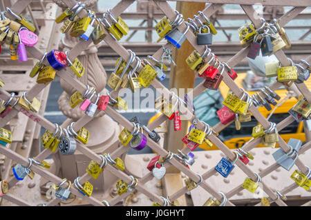 Love Locks, Brooklyn Bridge New York City (NYC) - Stock Image