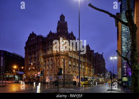 The Midland Hotel, grand hotel in Manchester designed by Charles Trubshaw in a highly individualistic Edwardian Baroque style. Grade II* listed buildi - Stock Image