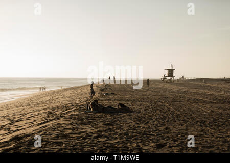 People relaxing on sunny beach, Newport Beach, Orange County, California, USA - Stock Image