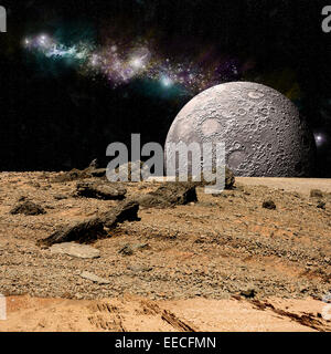 An artist's depiction of the view from a rocky and barren alien world. A moon rises over the airless environment. - Stock Image