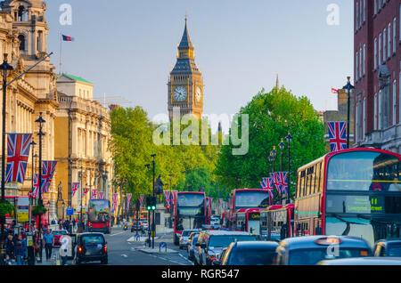 UK, England, London, Whitehall and Big Ben, Union Jack Flags - Stock Image