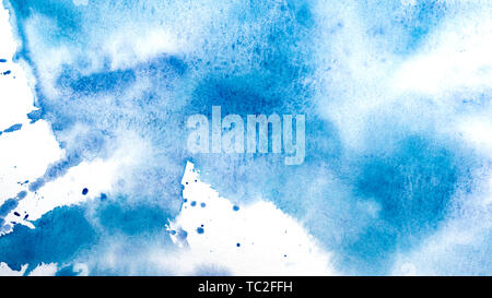 Abstract watercolor painting. Textured background. Drips of blue paint on canvas. - Stock Image