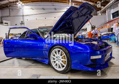 Bielsko-Biala, Poland. 12th Aug, 2017. International automotive trade fairs - MotoShow Bielsko-Biala. Modified, blue Honda Prelude. Credit: Lukasz Obermann/Alamy Live News - Stock Image