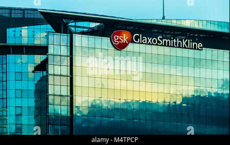 GlaxoSmithKline, global pharmaceuticals company, closeup of the tall office block at Brentford, near London. Taken - Stock Image