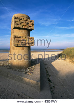 Monument honors heroism of Allied Forces during D-Day invasion, Normandy, June 6, 1944, Juno Beach, Courseulles - Stock Image