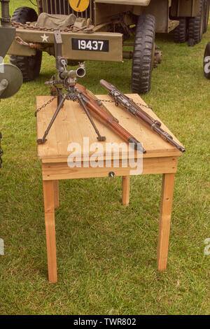 Collection of British and German weapons on show - Stock Image