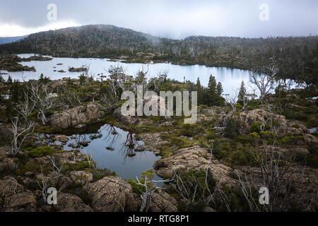 Lake Ophion in Cradle Mountain–Lake St Clair National Park, Tasmania - Stock Image