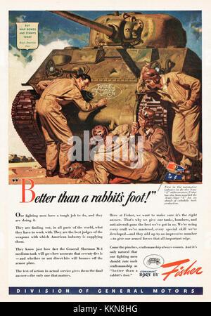 1943 U.S. Magazine Fisher-Built Sherman Tank Body Advert - Stock Image