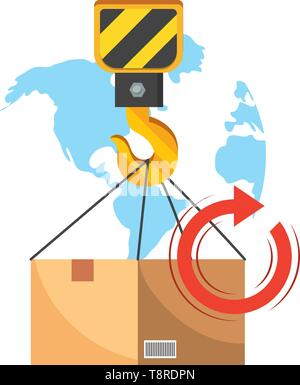 box with crane hook, return arrow and map behind vector illustration graphic design - Stock Image
