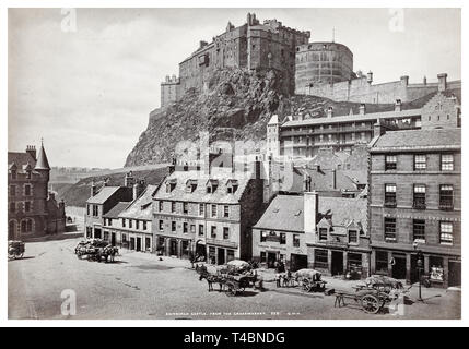 Edinburgh Castle, from the Grassmarket, vintage photograph by George Washington Wilson, 1885 - Stock Image