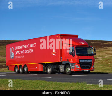 16 Billion Items Delivered Safely and Securely Every Single Year. Royal Mail HGV. M6 Motorway Southbound carriageway, Shap, Cumbria, England, U.K. - Stock Image