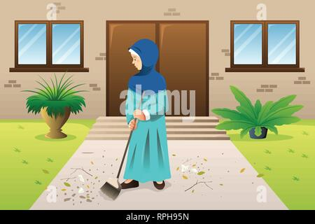 A vector illustration of Muslim Woman Sweeping the Trash - Stock Image