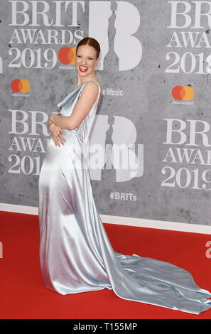 The Brit Awards 2019 held at the O2 - Arrivals  Featuring: Jess Glynne Where: London, United Kingdom When: 20 Feb 2019 Credit: WENN.com - Stock Image