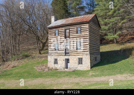 CHUCKEY, TN, USA-3/4/18: An early structure on the Nolichucky River, built about 1784.  It was designed for protection from Indian raids. - Stock Image