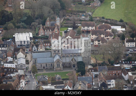 An aerial view of Wimborne Minster, Dorset - Stock Image