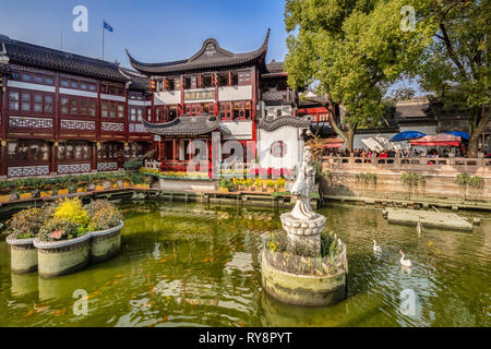 29 November 2018: Shanghai, China - Lake in the Yu Garden of the Old Town district, a major visitor attraction. - Stock Image