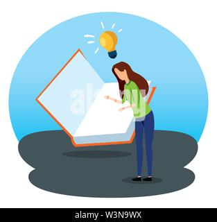 businesswoman with book strategy and bulb idea - Stock Image