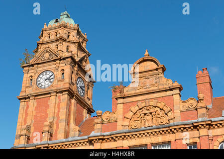 Newtown town clock tower and the top of Cross buildings.  Powys Wales UK - Stock Image