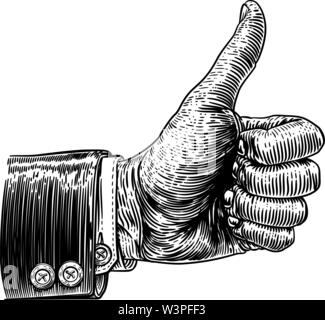 Thumbs Up Hand Sign Retro Vintage Woodcut - Stock Image