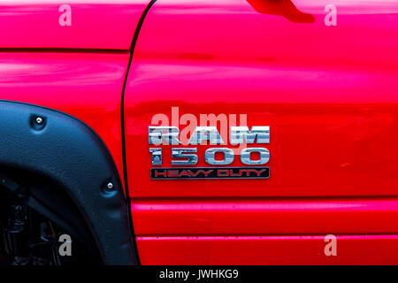 Bielsko-Biala, Poland. 12th Aug, 2017. International automotive trade fairs - MotoShow Bielsko-Biala. Ram 1500 heavy duty caption. Credit: Lukasz Obermann/Alamy Live News - Stock Image