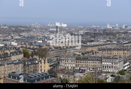View over rooftops from Calton Hill, Edinburgh, Scotland towards Leith and the forth estuary. - Stock Image