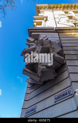 'Square The Block' sculpture by Richard Wilson RA, 2009, London School of Economics, Kingsway, London, England - Stock Image