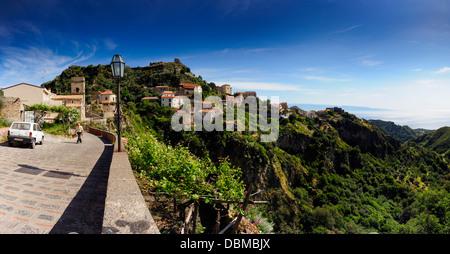Savoca Panoramic, with sea view - Stock Image