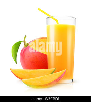 Isolated mango juice. Fresh mango drink in a glass and pieces of fruit isolated on white background with clipping path - Stock Image