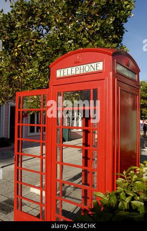 British national symbol  K6 red telephone phone box iconic UK London england symbol - Stock Image