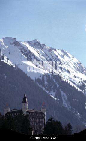 Hotel palace and area around Gstaad Switzerland Europe - Stock Image