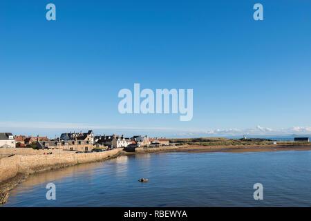 Elie Beach on a sunny autumn day, Fife, Scotland, UK - Stock Image
