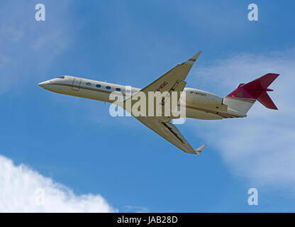 Gulf stream owned by Mohammed Al Fayed at Inverness Dalcross Airport in the Scottish Highlands UK. - Stock Image