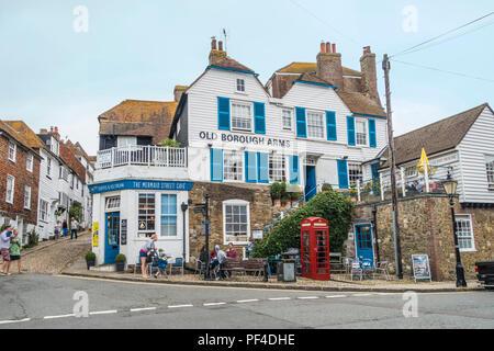 Old Borough Arms,Pub,Mermais Street Cafe,Rye,East Sussex,England,UK - Stock Image