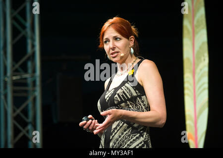 Professor Alice Roberts English anthropologist & television presenter speaking on stage at Hay Festival 2018 Hay-on-Wye Powys Wales UK - Stock Image