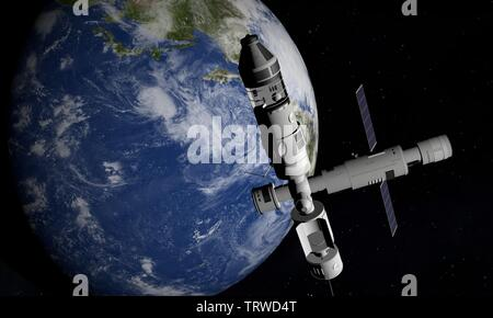 Space Station Orbiting Earth. 3D Illustration. - Stock Image