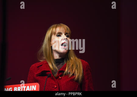 Liverpool, UK. 24th September 2018. Angela Raynor Shadow Secretary of State for Education speaking at the Labour Conference in Liverpool. 2018 Credit: Della Batchelor/Alamy Live News - Stock Image