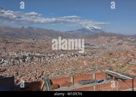 View of La Paz and Illimani from El Alto, Bolivia - Stock Image