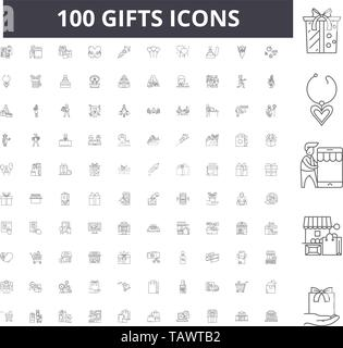 Gifts line icons, signs, vector set, outline illustration concept  - Stock Image