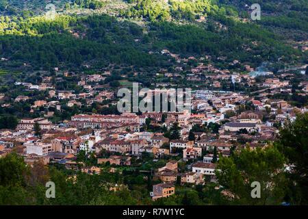View of the town of Sóller from Mirador des Puyol d'En Banya, Mallorca, Majorca, Balearic Islands, Balearics, Spain, Europe - Stock Image