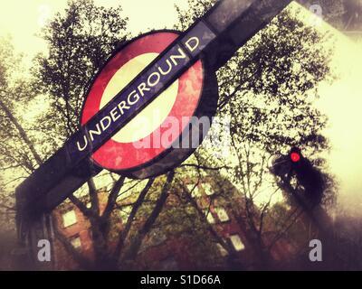 London Underground, sign and entrance - Stock Image