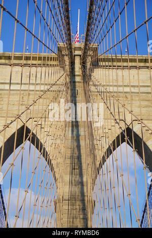 The Famous Brooklyn Bridge in New York City, New York USA. - Stock Image