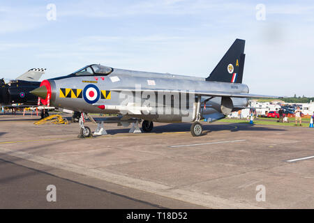 English Electric Lightning of the Royal Air Force who used it as an interceptor fighter introduced in the 1950s - Stock Image