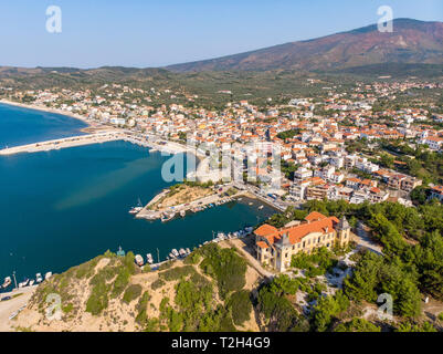 Aerial view of Limenaria town in Thasos, Greece - Stock Image
