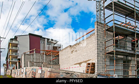 Gosford, New South Wales, Australia. February 4. 2018. Construction progress update 66 on new home units building site at 47 Beane St. - Stock Image