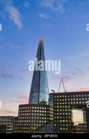 Shard Skyscfraper building and surounding office buildings in Southwark, London, England, UK - Stock Image