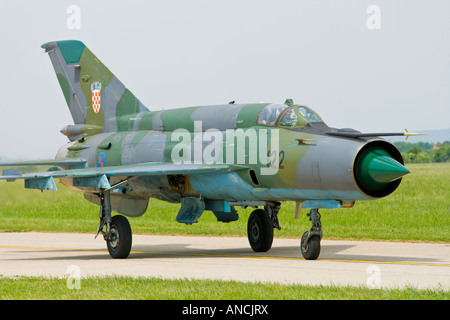 Croatian Air Force MiG-21 BISD '122' fighter taxiing on runway, Pleso AFB during 'open day' visit - Stock Image