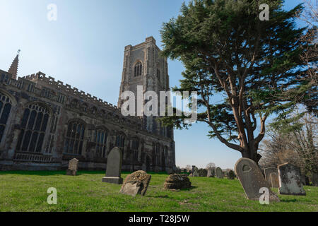 Lavenham Church, view of the late medieval (1525) Church of St Peter & St Paul and its churchyard in the Suffolk village of Lavenham, England, UK. - Stock Image